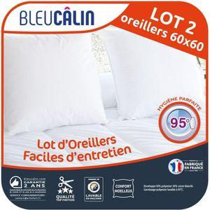 BLEU CALIN Lot de 2 oreillers Entretien Machine 95°C 60x60 cm blanc