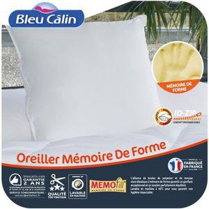 BLEU CALIN Oreiller ? mémoire de forme Mémofill 60x60 cm blanc