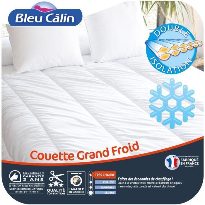 BLEU CALIN Couette 500 gr/m² Grand Froid 200x200 cm blanc