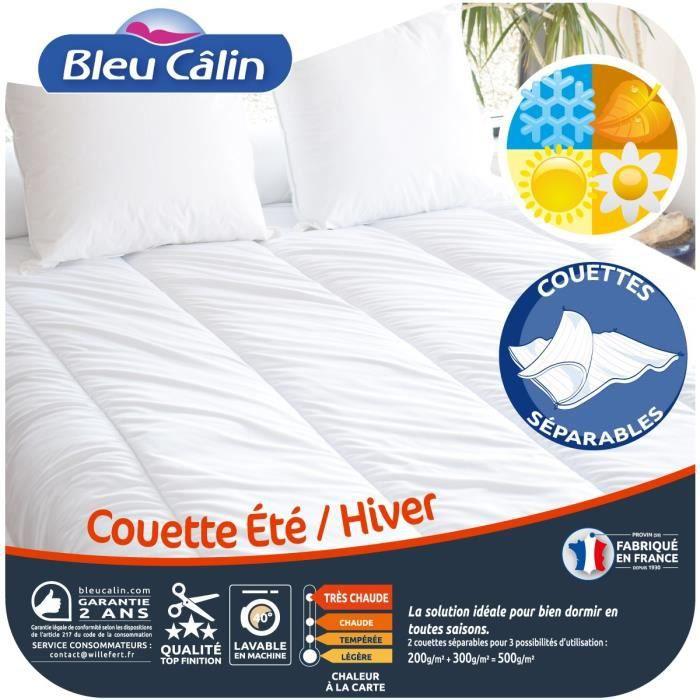 BLEU CALIN Couette Été Hiver 220x240 cm blanc
