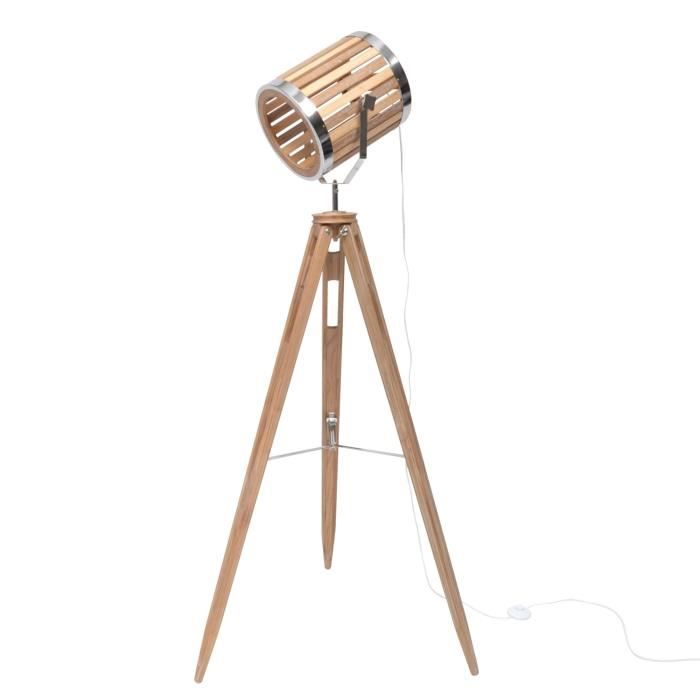 SPOT Lampadaire cinéma trépied - 65 x 55 x H151 cm - Pieds bois - Abat-jour bois/métal