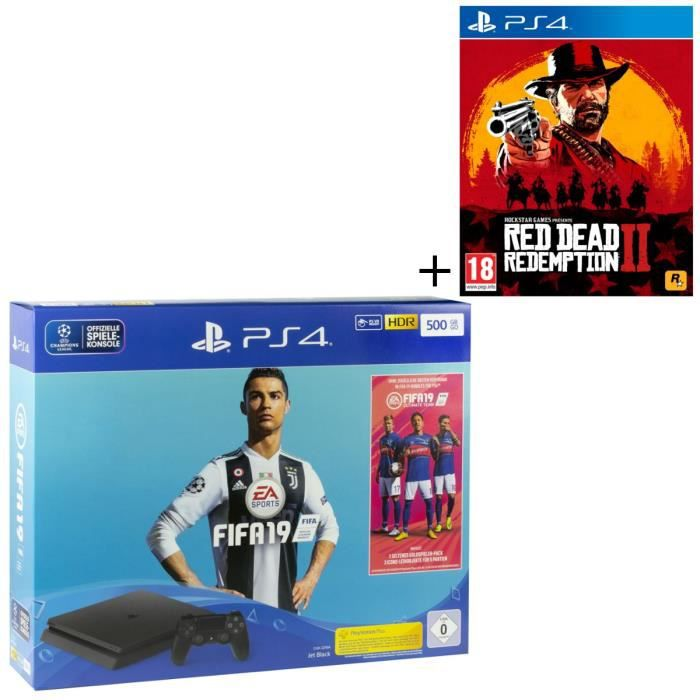 Pack PS4 500 Go + 2 jeux : FIFA 19 + Red Dead Redemption 2