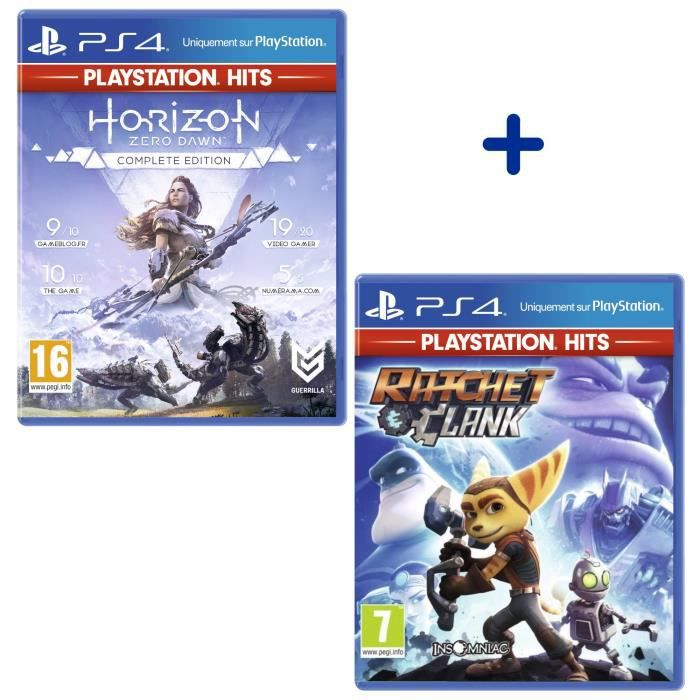Pack 2 Jeux PS4 PlayStation Hits : Horizon Zero Dawn Complete Edition + Ratchet & Clank