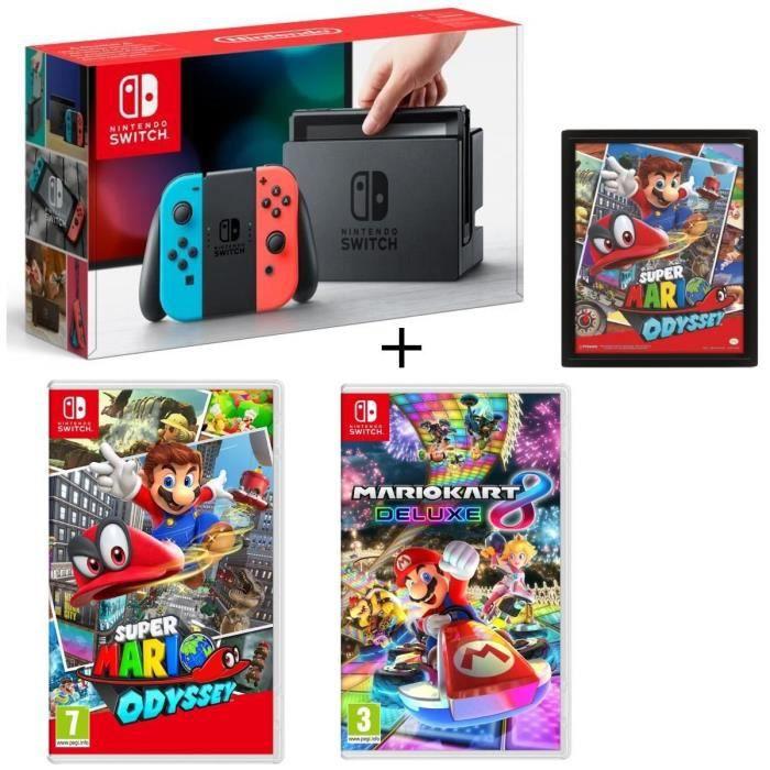 Console Nintendo Switch avec paire de Joy-Con néon + Super Mario Odyssey + Mario Kart 8 Deluxe + cadre Super Mario Odyssey 3D