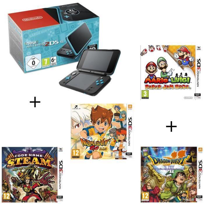 4 jeux + console New Nintendo 2DS XL Noire&Turquoise + Mario & Luigi Paper Jam Bros + Code Name STEAM + Inazuma ElevenGoLumière + Dr