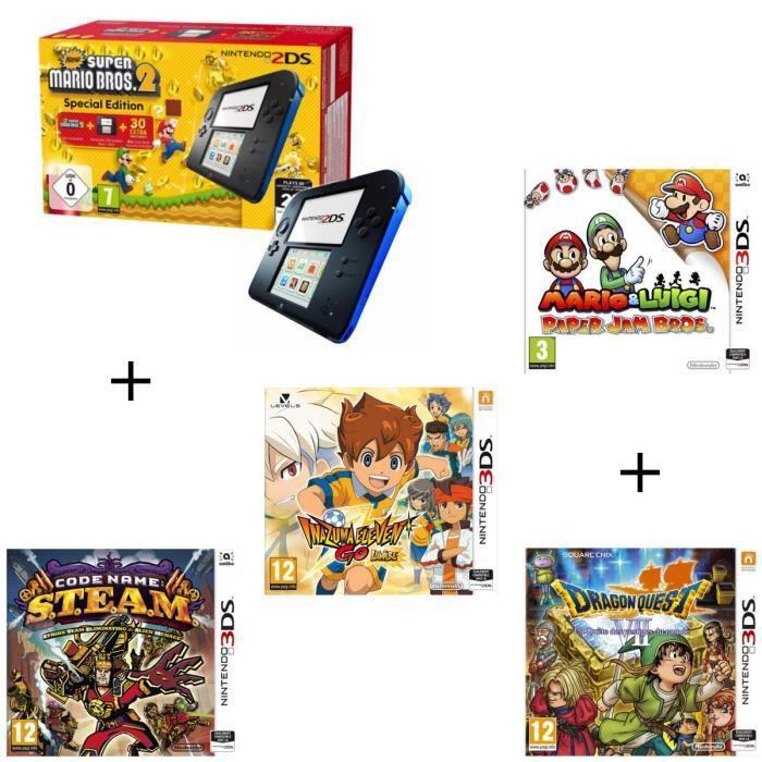 4 jeux + console 2DS Bleue + New Super Mario Bros 2 + Mario & Luigi Paper Jam Bros + Code Name STEAM + Inazuma ElevenGoLumière + Dra