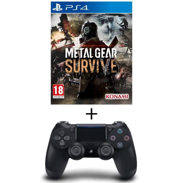 Pack Metal Gear Survive Jeu PS4 + Manette PS4 DualShock 4 Noire V2
