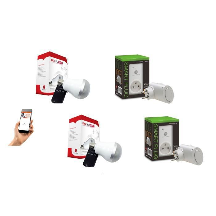 NEW DEAL Pack de 2 prises connectées WiFi Speco+ et 2 ampoules musicales ZicLed W11