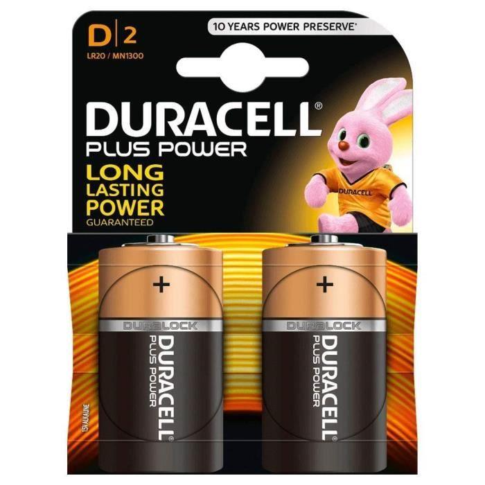 DURACELL Plus Power Piles type D Lot de 2