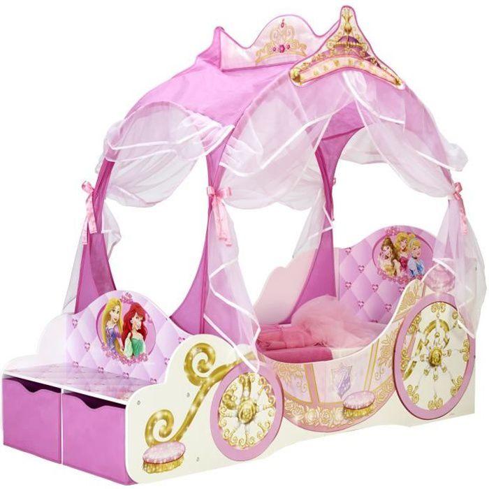 WORLDS APART DISNEY PRINCESSES Lit Enfant Fille - Carosse en bois avec rangements et rideaux - Rose
