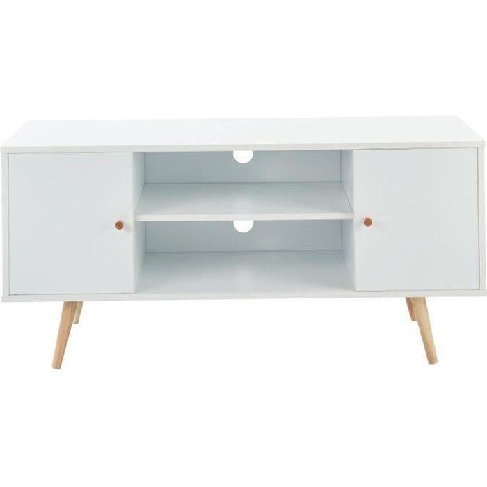 BABETTE Meuble TV scandinave décor blanc + pieds en bois eucalyptus - L 116 cm