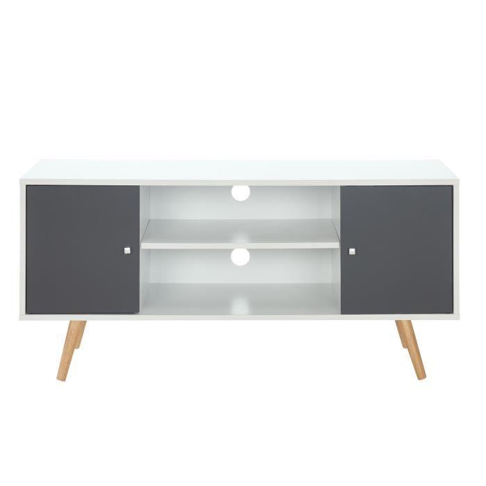 Panneaux de particules et pieds en eucalyptus blanc et gris foncé - L116xP39,5xH53,5 cm - 2 portes et 2 nichesMEUBLE TV - MEUBLE HI-FI