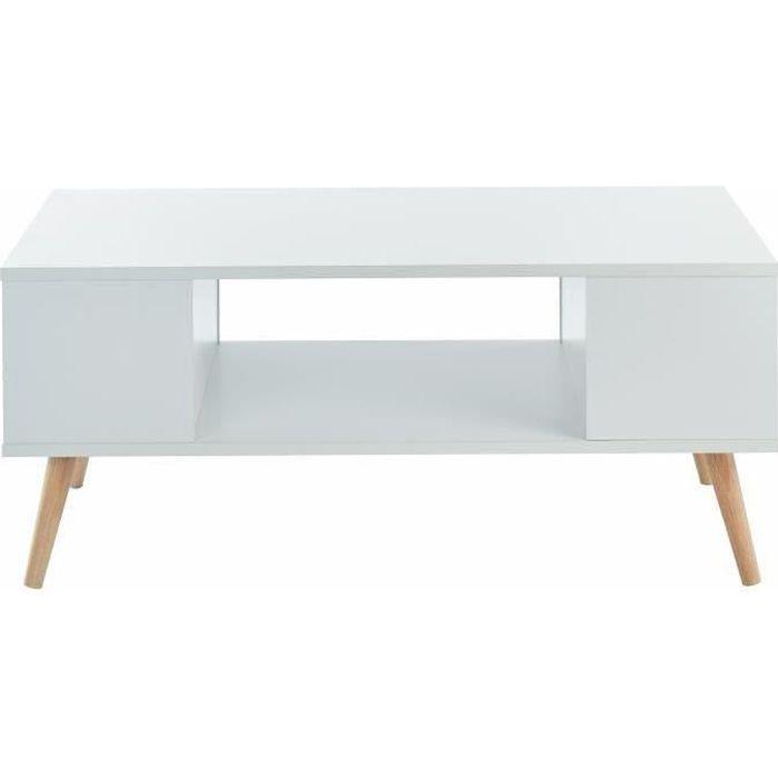 BABETTE Table basse scandinave décor blanc + pieds en bois eucalyptus - L 90 x l 45 cm