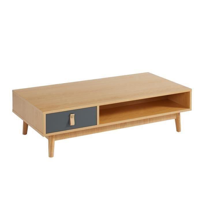 CAMBRIDGE Table basse poignée en cuir - Décor chêne clair et gris foncé