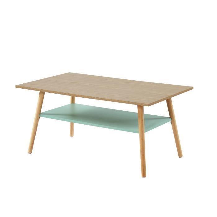 ELISE Table basse avec une étagère - Style vintage - Chêne clair et vert pastel - L 100 x P 60 x H 4