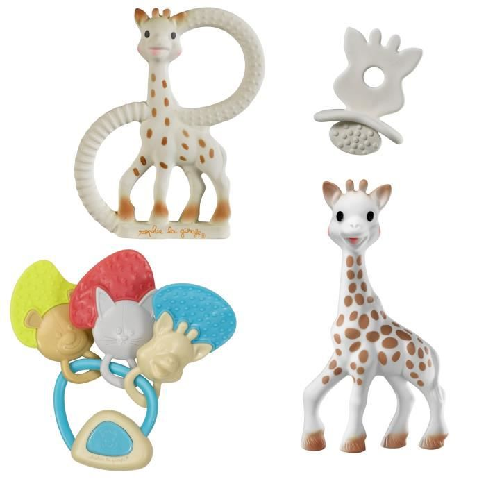 SOPHIE LA GIRAFE Ensemble Coffret Natural Soother So Pure + Hochet Clés Musical + Anneau So'Pure Souple