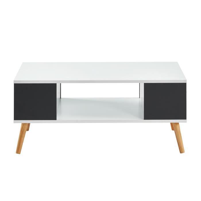 BABETTE Table basse blanche et grise foncée - L 90 x P 45 x H 38,7 cm