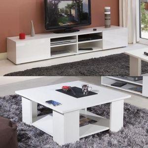 LIME Salon complet coloris blanc brillant 2 pi?ces 1 meuble TV 185cm + 1 table basse carrée