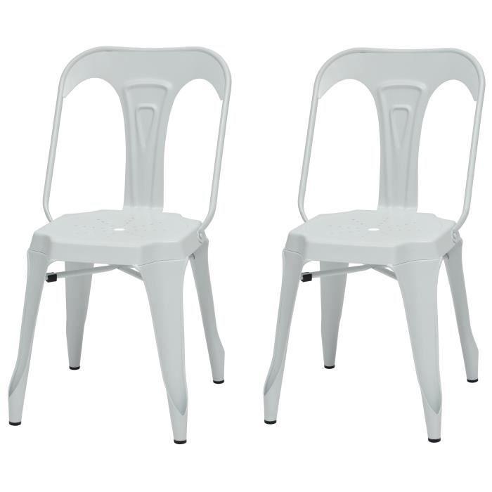 Chaise industrielle en Métal blanc mat - Assise L 44 x P 53 cm - Lot de 2CHAISE