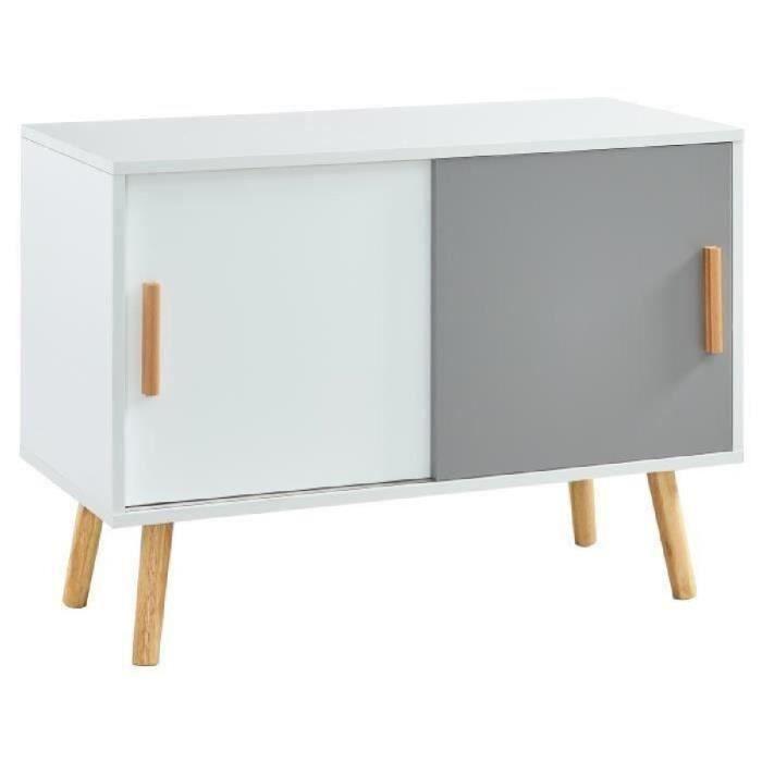 Panneaux de particules mélaminés blanc et gris mat - L 80 x P 40 x H 58 cm - 2 portes et 1 étagèreMEUBLE TV - MEUBLE HI-FI
