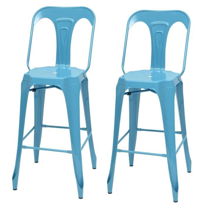 KRAFT Claire Lot de 2 chaises de bar en métal bleu satiné - Industriel - L 47 x P 55 cm - Assise H 7