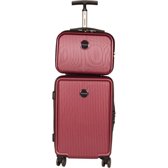 MURANO Set Valise 50cm + Vanity 28cm Rigide ABS 8 Roues JIB Rouge Foncé