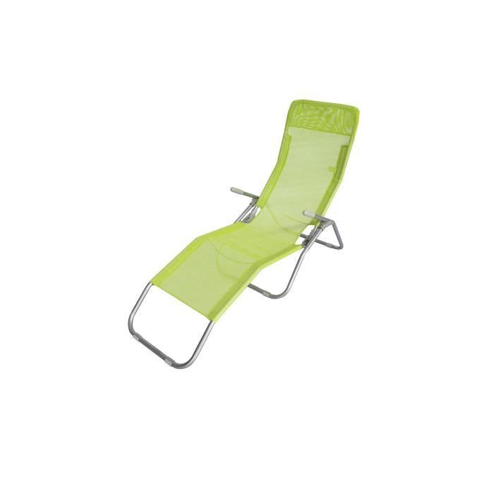 LUNJA bain de soleil vert - en textilène