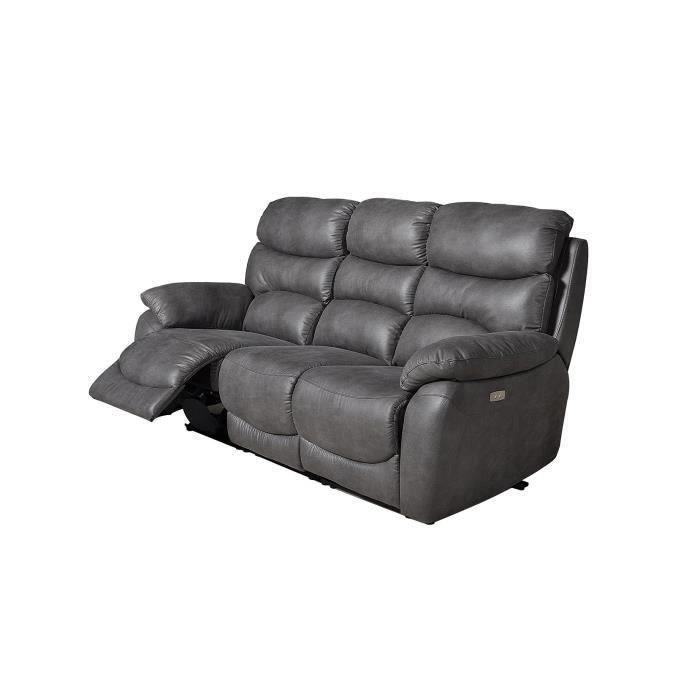 SOBRAL Canapé 3 places avec 2 assises électriques - Tissu gris - L 204 x P 92 x H 107 cm