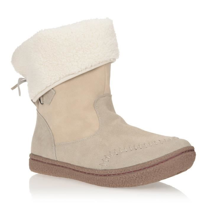 Synthétique - Beige.BOTTINE - BOOTS
