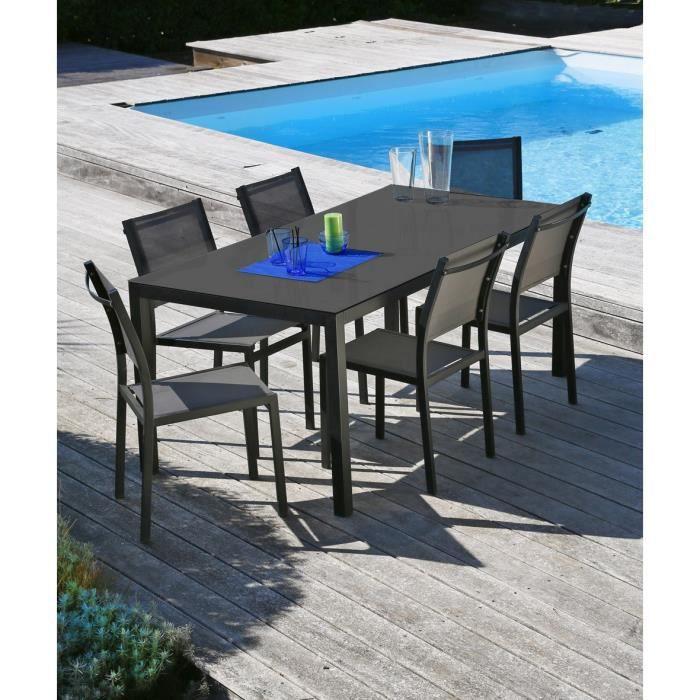 En aluminium - 1 table 160 x 90 x 72 cm - 6 chaises - Coloris : gris anthracite.SALON DE JARDIN - ENSEMBLE TABLE CHAISE FAUTEUIL DE JARDIN