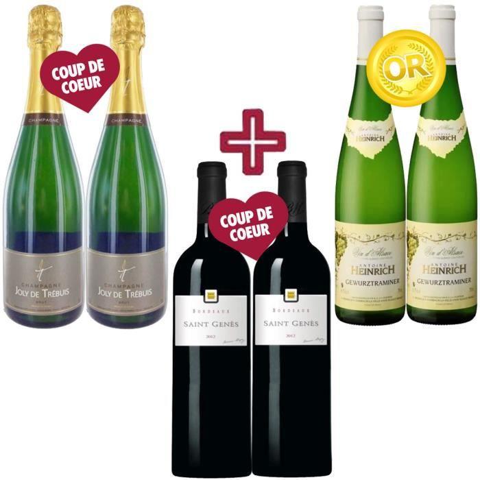 Sélection Réveillon : 2 Champagne Joly de Trébuis + 2 Gewurztraminer Heinrich 2013 Vin blanc + 2 Saint Genès Bordeaux 2012 Bernard Magrez Vin rougeASSORTIMENT VIN