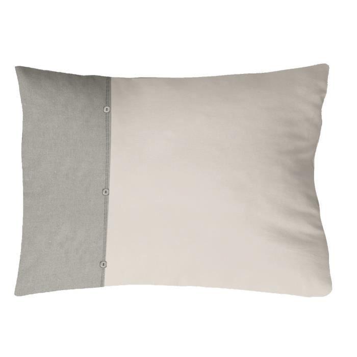 COTE DECO Taie d'Oreiller 100% coton lavé 50x70 cm - Blanc ficelle et gris éléphant