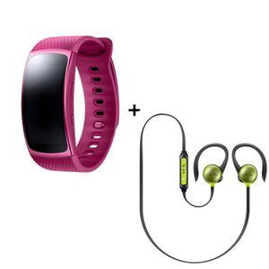 Samsung Bracelet Gear fit 2 Rose Large + Ecouteurs Level Active Jaune