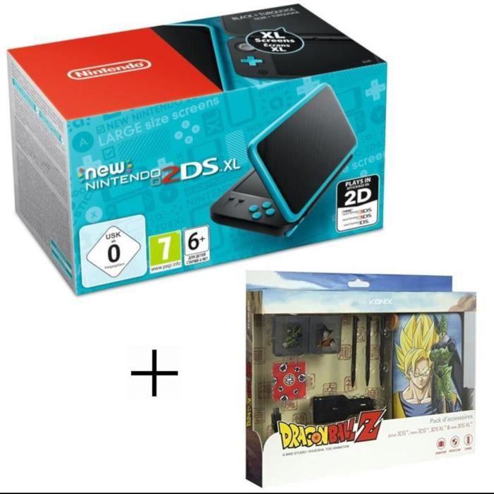 New 2DS XL Noire et Turquoise + Pack d'accessoires Konix Dragon Ball Z
