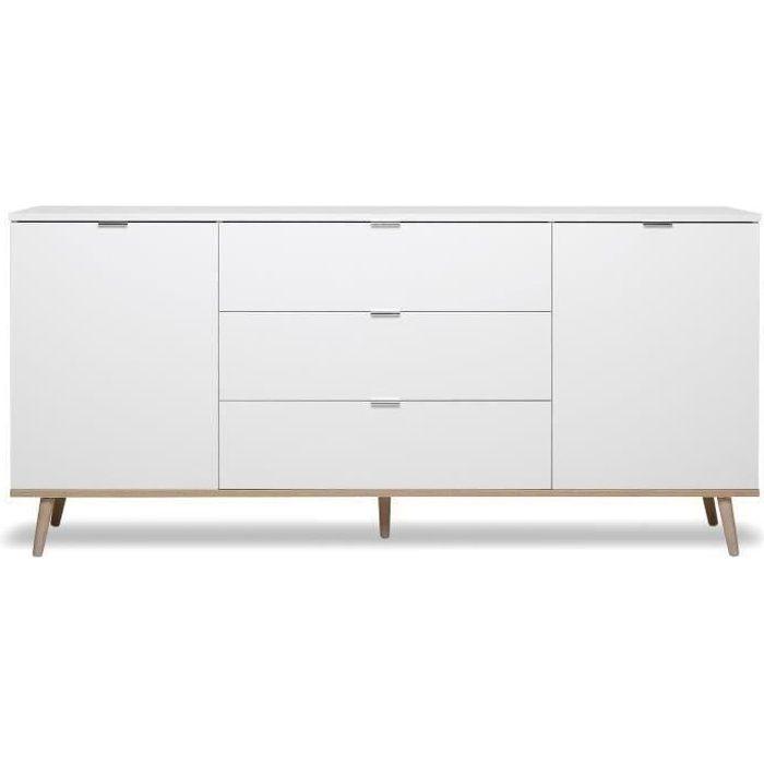 GÖTEBORG Buffet bas - Style scandinave - Décor chêne et blanc - L 180 cm