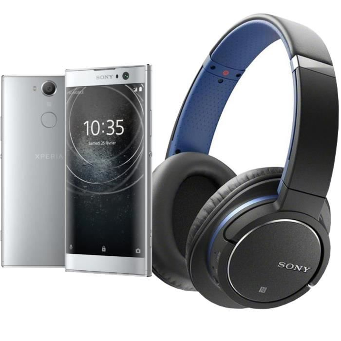 Sony Xperia XA2 Argent + SONY MDRZX770BNLCE7 Casque arceaux Bluetooth