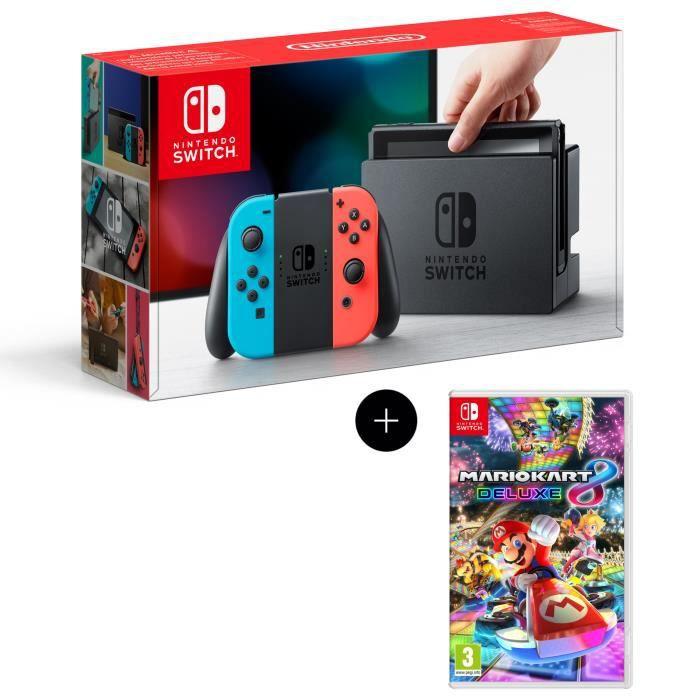 Console Nintendo Switch avec paire de joy-con bleu néon / rouge néon + Mario Kart 8 Deluxe