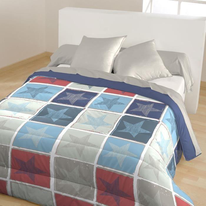 CALINE Couette chaude imprimée Leon 140x200 cm bleu et rouge