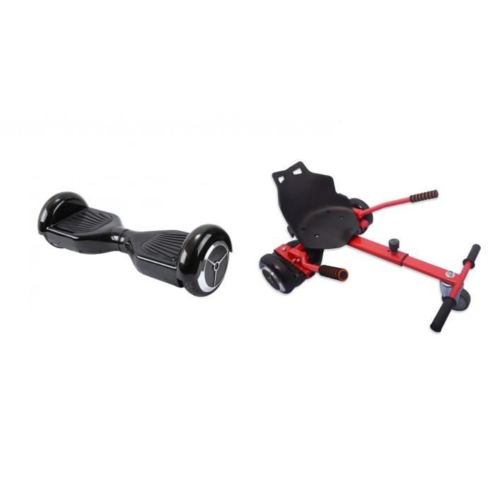 ECOGYRO Hoverboard 550 W Dark Knight + TAAGWAY Kit Kart Rouge A3 Siège rigide pour Hoverboard 6,5\