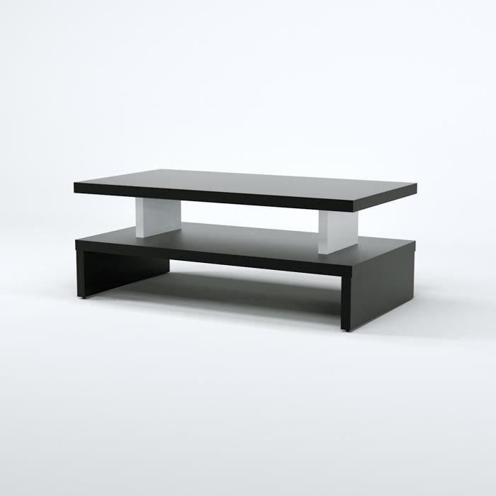 After table basse style contemporain décor noir l 97 x l 51 cm