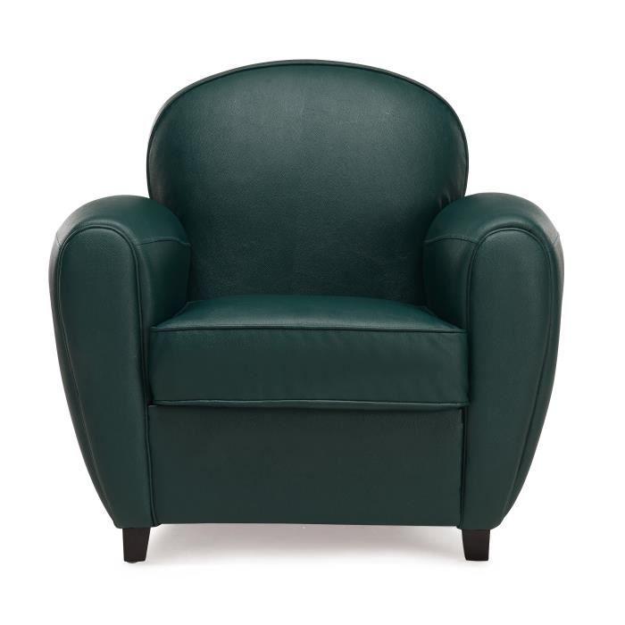 dayton fauteuil club en simili vert pieds bois massif noir. Black Bedroom Furniture Sets. Home Design Ideas
