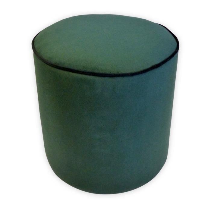 Pouf rond velours William - 35 x 35 cm - Vert émeraude avec passepoil noir