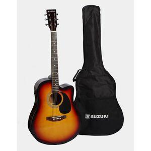 SUZUKI Guitare Folk électro-acoustique sunburst avec housse