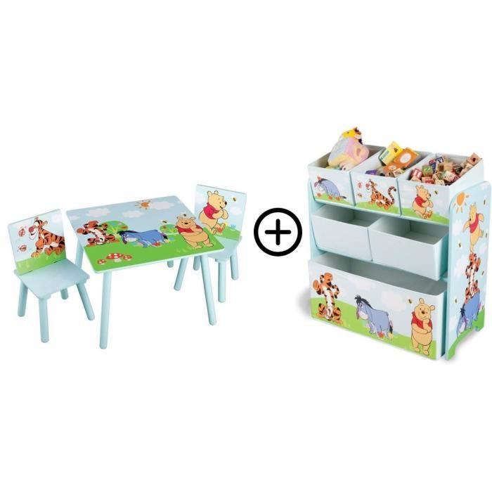 WINNIE - Deltakids - Table et Chaises en bois + Coffre Etagère en tissu et métal - chambre Enfant - Mixte
