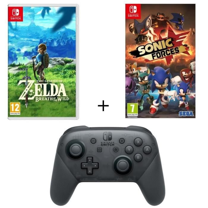 Pack 2 jeux nintendo switch the legend of zelda breath of the wild sonic forces manette pro