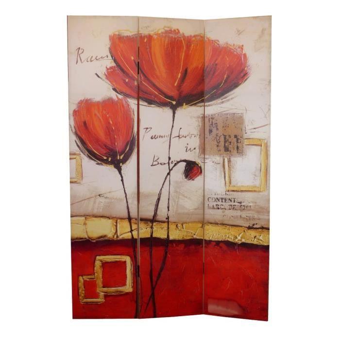 Matériau : sapin - Dimension : 180 x 120 cm - Epaisseur : 2,5 cm - Coloris : rouge et orange - Motif : fleurPARAVENT