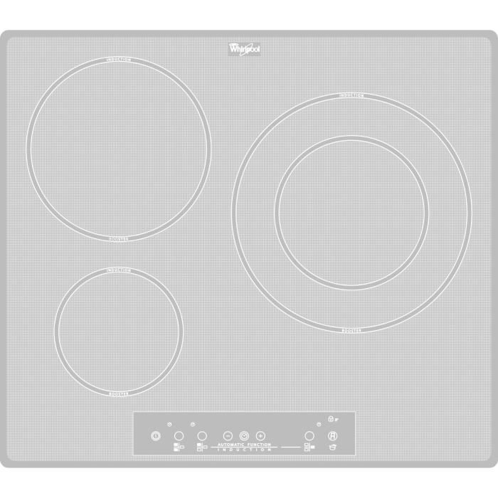WHIRLPOOL ACM680NEWH - Table de cuisson induction - 3 zones - 7000W - L58 x P49cm - Revêtement verre - Blanc