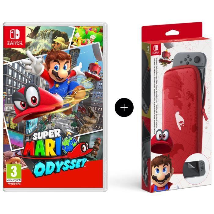 Super Mario Odyssey Jeu Switch + Pochette de transport et de protection en édition limitée
