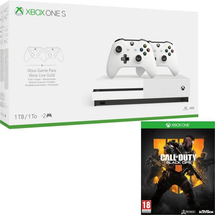 Xbox One S 1 To + 2 manettes + Call of Duty Black Ops 4