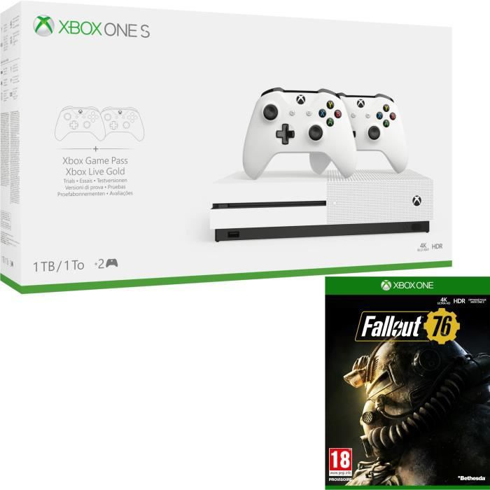 Xbox One S 1 To + 2 manettes + Fallout 76